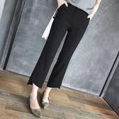 西裝褲休閒直筒褲高腰顯瘦不規則九分闊腿褲女