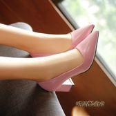 春漆皮高跟鞋5-7厘米淺口中跟職業皮鞋「時尚彩虹屋」