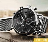 超薄雙日歷男士鋼帶防水大錶盤手錶