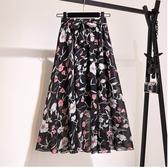 【HN10】印花高腰裙碎花雪紡半身裙女夏春中長款裙子新款半身長裙
