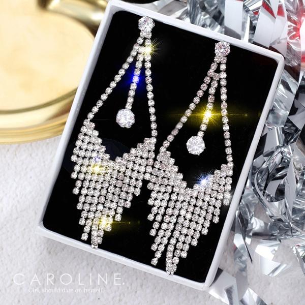 《Caroline》★韓國熱賣造型時尚Bling  Bling 絢麗閃亮動人滿鑽長款耳環70163