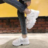 小白鞋女新款韓版百搭厚底軟妹跑步春季學生透氣zipper運動鞋