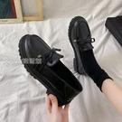 牛津鞋女樂福鞋女21新款平底英倫小皮鞋jk復古百搭黑色工作軟皮豆豆單鞋 快速出貨