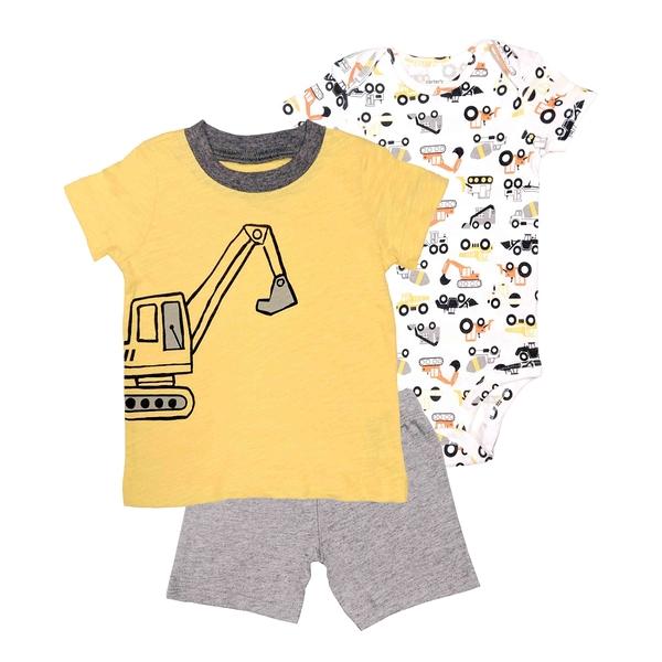 男寶寶套裝三件組 短袖包屁衣+T恤上衣+短褲 黃挖土機 | Carter s卡特童裝 (嬰幼兒/小孩/baby)
