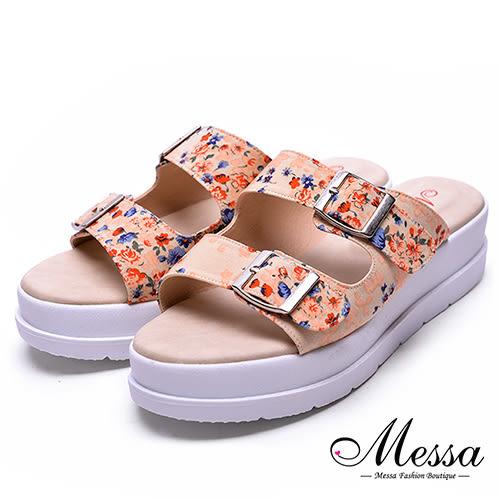 【Messa米莎專櫃女鞋】MIT迷人金屬扣環花漾厚底拖鞋-米色