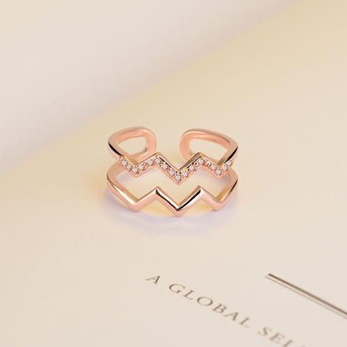 【NiNi Me】韓系戒指 時尚優雅微鑲水鑽流線型雙層開口式戒指 戒指 F0023