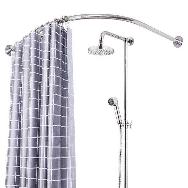 軌道浴簾桿免打孔L形弧形桿浴簾轉角淋浴桿U型浴室套裝伸縮桿架wy