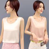 夏季韓版圓領寬鬆小吊帶背心女內搭夏外穿打底t恤雪紡衫無袖上衣   蜜拉貝爾