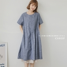 日雜推薦不對稱壓摺棉麻洋裝 二色-小C館日系