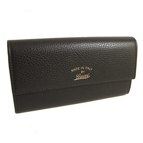 【奢華時尚】GUCCI Swing系列-黑色荔枝牛皮金色Logo對摺長夾#15500
