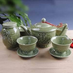 特價 龍泉青瓷10頭龍騰飛躍茶具