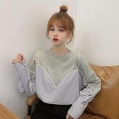 正韓假兩件上衣女潮秋裝寬鬆秋季長袖T恤女裝設計感-Milano米蘭