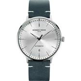 GIORGIO FEDON 1919 CF 復古系列機械錶-銀x藍色/42mm GFCF002