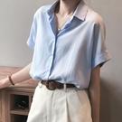 2021新款夏季設計感小眾襯衫女短袖天絲棉麻上衣復古港味半袖襯衣 喵小姐