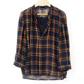 【MASTINA】兩件式雪紡格紋上衣- 藍  冬末好康