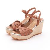 MICHELLE PARK 流行簡約鉚釘舒適厚底波西米亞涼鞋-棕色