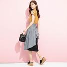 單一優惠價[H2O]嘉頓格紋後不對稱配布剪接中長裙 - 黃白格/綠白格/黑白格色 #0672020