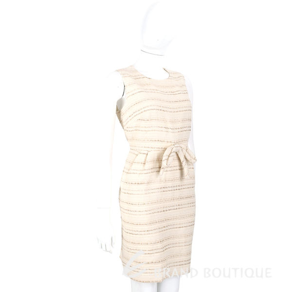 EDWARD ACHOUR PARIS 米色條紋蝴蝶結飾無袖洋裝 1620345-40