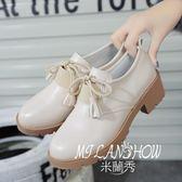 流蘇粗跟皮鞋復古小白鞋 米蘭shoe