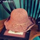 草帽女夏天太陽帽大沿可折疊捲邊遮陽帽出遊沙灘帽蝴蝶結休閒涼帽  【快速出貨】