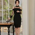 VK精品服飾 韓系氣質露肩拼接透視修身開叉包臀性感長袖洋裝