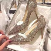 婚鞋女2018新款新娘鞋尖頭銀色網紅高跟鞋女秋冬細跟亮片伴娘水晶