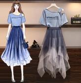 套裝裙中大尺碼網紗裙XL-5XL顯瘦减齡連衣裙胖妹妹超仙網紗裙兩件套3F088.5569胖胖唯依