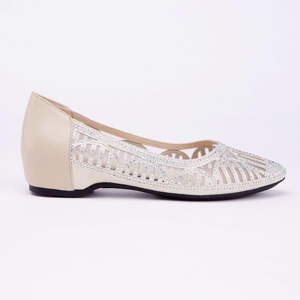 kadia.典雅水鑽牛皮拼接沖孔包鞋(9004-28金色)