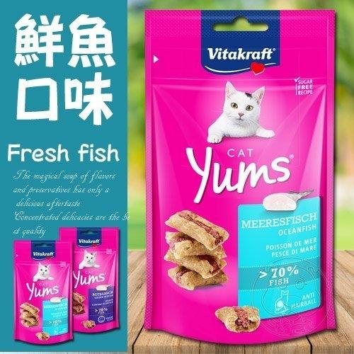 【培菓寵物48H出貨】德國Vitakraft》貓咪愛吃魚香堡鮮魚/紅鱸魚貓零食-40g