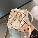 水桶包高級感包包女夏斜背包2021新款網紅時尚側背包ins小眾百搭水桶包 愛丫
