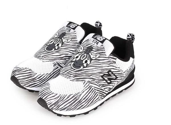 New Balance 男女黑白色斑馬小童鞋-NO.IV574ZOZ