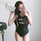 泳裝 比基尼 泳衣 線條 鏤空 美背 顯瘦 連身 泳裝【SF1707-1】 BOBI  05/25