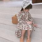 女童洋裝 韓風小紅花滿版連衣裙春薄款洋裝 復古後開扣連身裙 88646