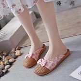夏季亞草編織涼拖鞋女士韓版居家室內防滑厚底地板亞麻拖鞋女居家