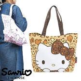 【日本正版商品】 Hello Kitty 凱蒂貓 淺棕色 豹紋帆布肩揹包 托特包 手提袋 旅行袋 三麗鷗 - 402143