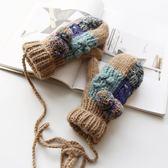 秋冬季加絨全指手套女冬可愛韓版加厚掛脖學生保暖毛線手套