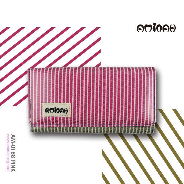 跳色條紋 鏡面長夾 / 皮夾 / 手拿包  粉紅色 AMINAH~【am-0188】
