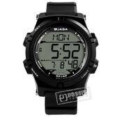 JAGA 捷卡 / M1192-A / 電子運動 倒數計時 計時碼錶 鬧鈴 日常生活防水 橡膠手錶 黑色 47mm