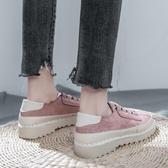 秋款新款小黑帆布女鞋韓版百搭學生布鞋休閒厚底平底小白板鞋   極有家