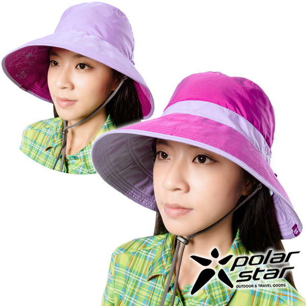 PolarStar 抗UV雙面遮陽帽 女『紅紫』P16510 抗UV帽│登山帽│遮陽帽│圓盤帽│釣魚帽│防曬帽