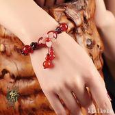 手鍊古風民族風紅繩女石榴石手串韓版簡約個性琉璃手飾復古裝飾品  XY3604  【KIKIKOKO】