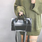 歐美時尚女包純色立體單肩包個性手提斜背子母包英倫風包 韓語空間