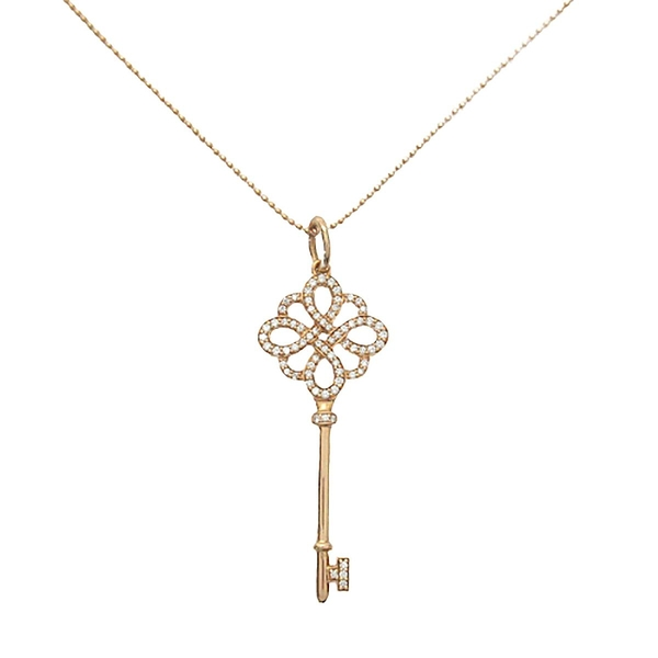 Tiffany & Co 蒂芬妮 18K玫瑰金結形鑲鑽鑰匙項鍊 Keys Knot Key Pendant【BRAND OFF】