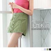 《BA4254》褲腳抽鬚排釦設計高含棉短褲/裙 OrangeBear