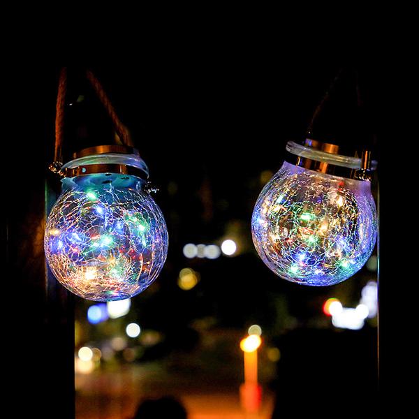 太陽能 戶外螢火蟲氛圍燈 壁燈 LED星星燈 告白 裝飾燈 手提燈 防水銅線燈 小夜燈 裂紋燈 串燈
