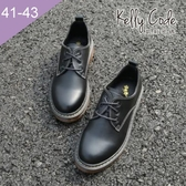 大尺碼女鞋-凱莉密碼-英國風素面經典款擦色綁帶牛津鞋3cm(41-43)【AP111-3】三色