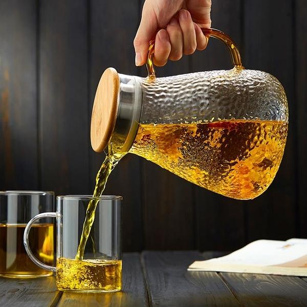 錘紋玻璃花茶壺 加厚耐熱高溫大容量冷水壺 家用透明過濾涼水壺 JA7873『科炫3C』