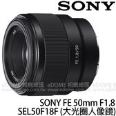 SONY FE 50mm F1.8 (24期0利率 免運 台灣索尼公司貨 SEL50F18F) 全片幅 E接環