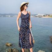 (批發價不退換)8593#沙灘裙海邊度假巴厘島海灘裙夏季吊帶碎花波西米亞長裙N-4E434日韓屋