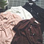 復古純色情侶裝刺繡T恤韓版男女短袖polo衫